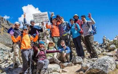 Trekking group on the luxury Salktantay Trek to Machu Picchu