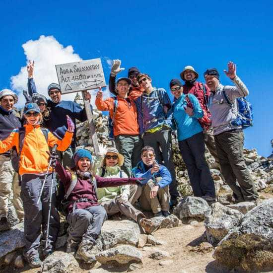 Trekking group on the luxury Salktantay Trek to Machu Picchu