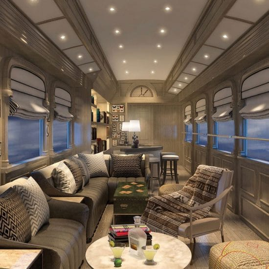 The interior of Andean Explorer Luxury Train from Cusco to Arequipa Peru