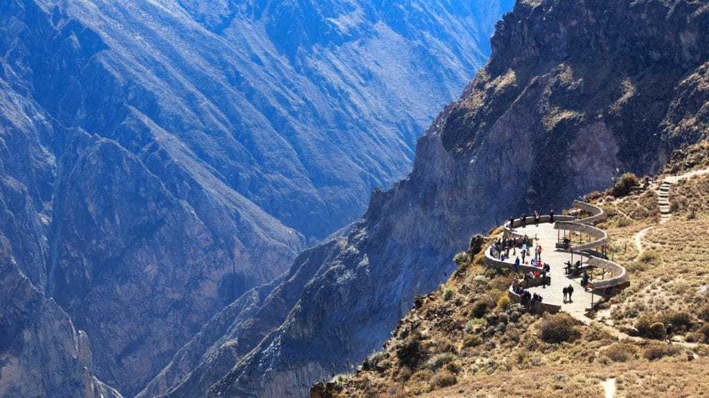 Looking into the world's deepest canyon on the Colca Canyon Trek