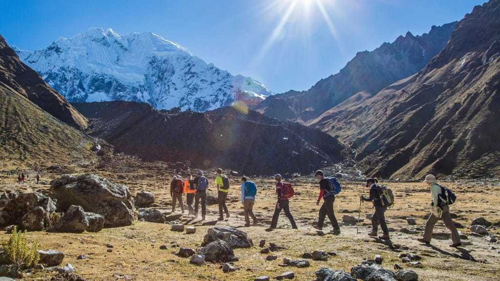 Trekking group on the Salkantay Trek to Machu Picchu