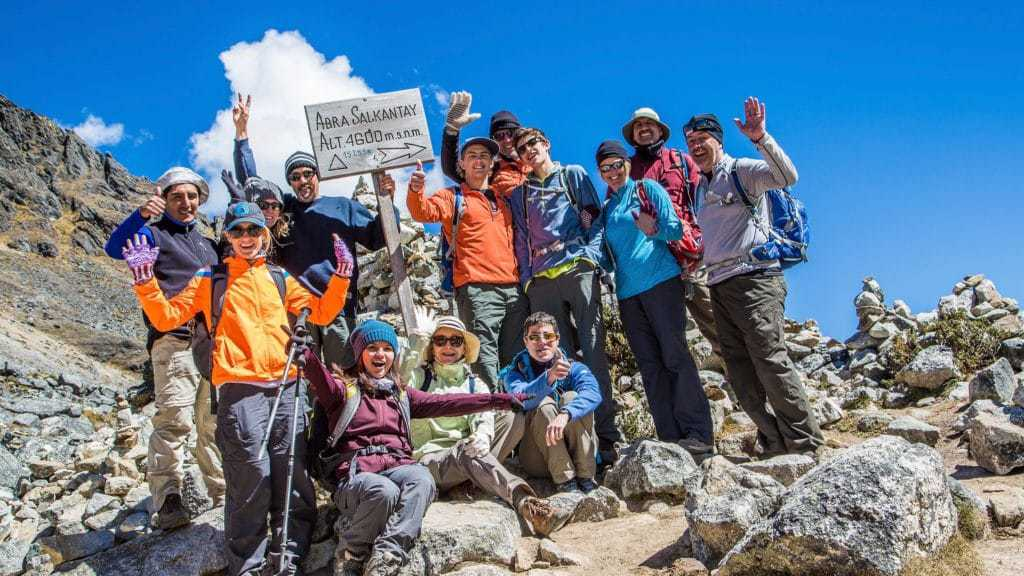 Trekking group crosses the Salkantay Pass on this Inca Trail alternative