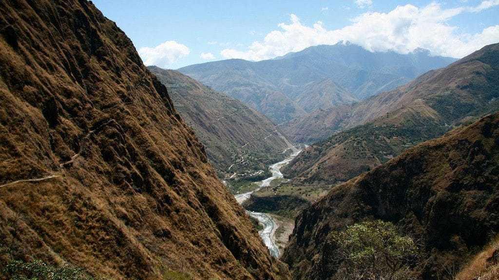 Valley Along the Inca Jungle Trail to Machu Picchu