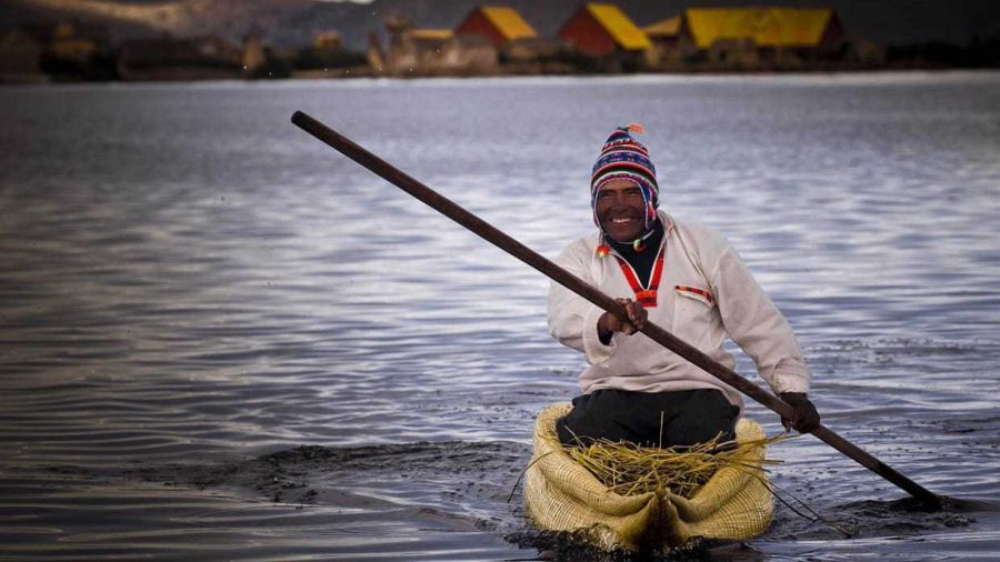 Lake Titicaca Tour from Puno - Man on a Boat