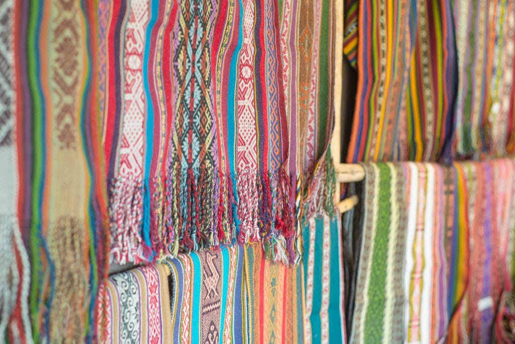 Peruvian Textiles - Finished Scarves at Amaru Village