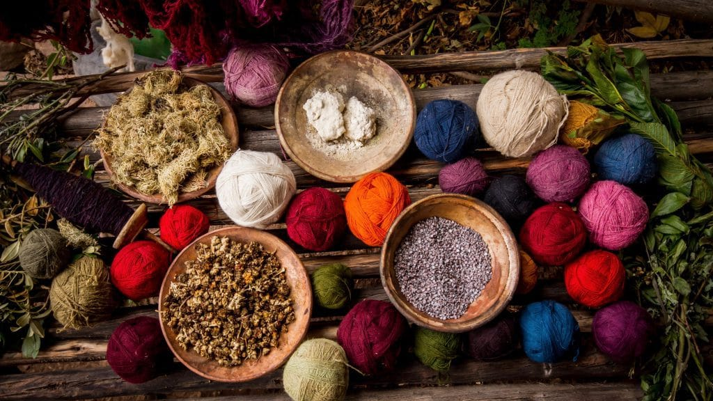 Colorful yarn and dyes