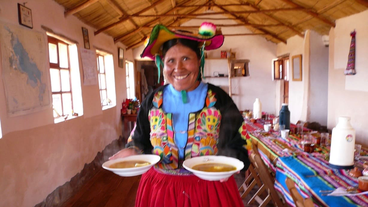 local living in titicaca lake