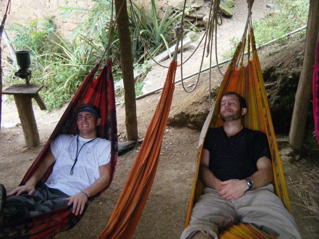 Inca Jungle Trail - Jungle trail trekkers relax in hammoacks.