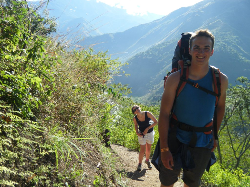 Inca Jungle Trail - Two happy hikers trekking the jungle trail.