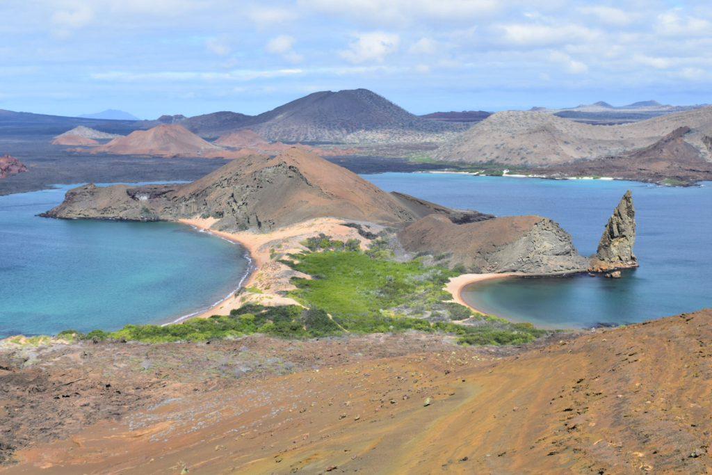 Galapagos Islands tourism - View of Pinnacle Rock on Bartolome Island.