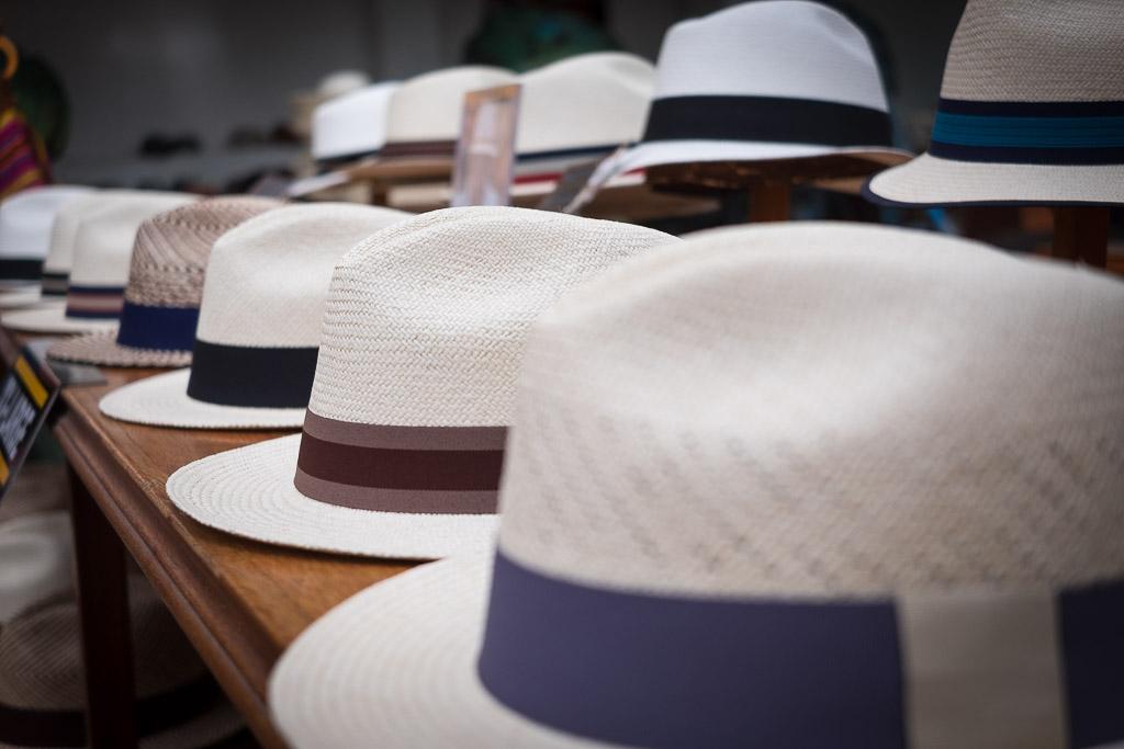 Ecuador vacation - rows of Panama hats at the Museo del Sombrero.