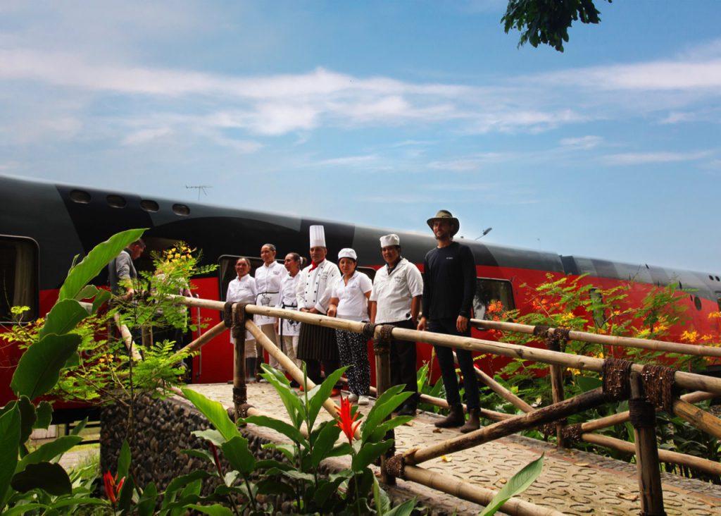 Ecuador Cruise Train - Staff at Hacienda la Danesa greet Tren Crucero passengers.