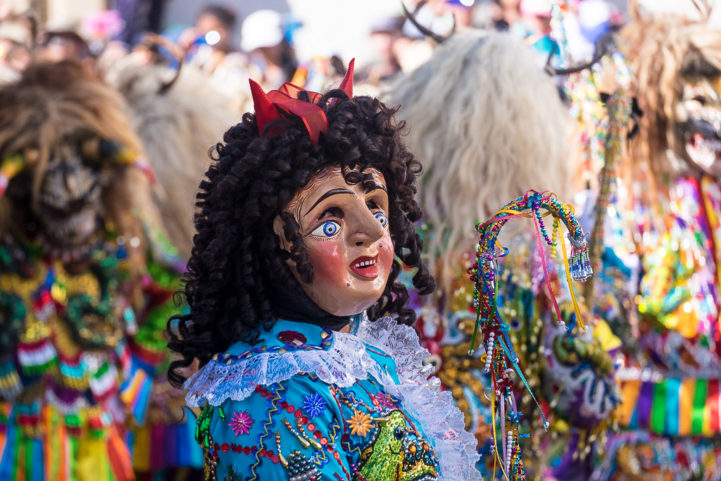 Colorful character at Virgin del Carmen