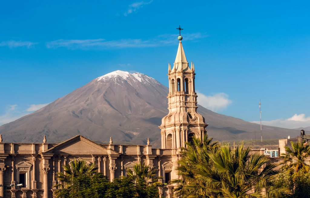 Volcano El Misti overlooks the city Arequipa in southern Peru.