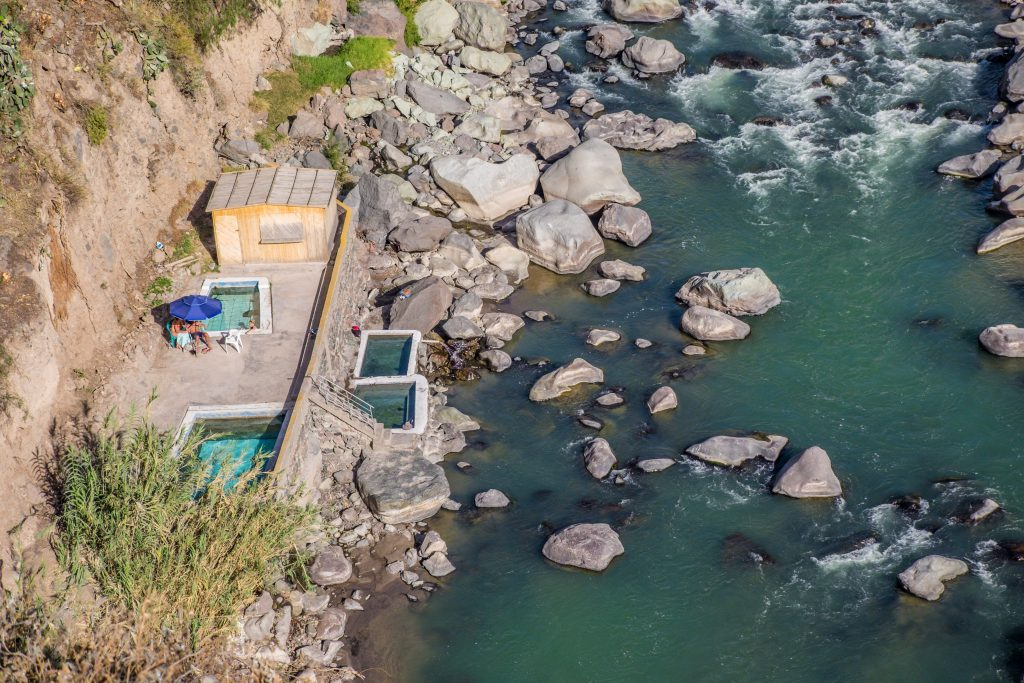 Colca Canyon trek - Llahuar Lodge pools.