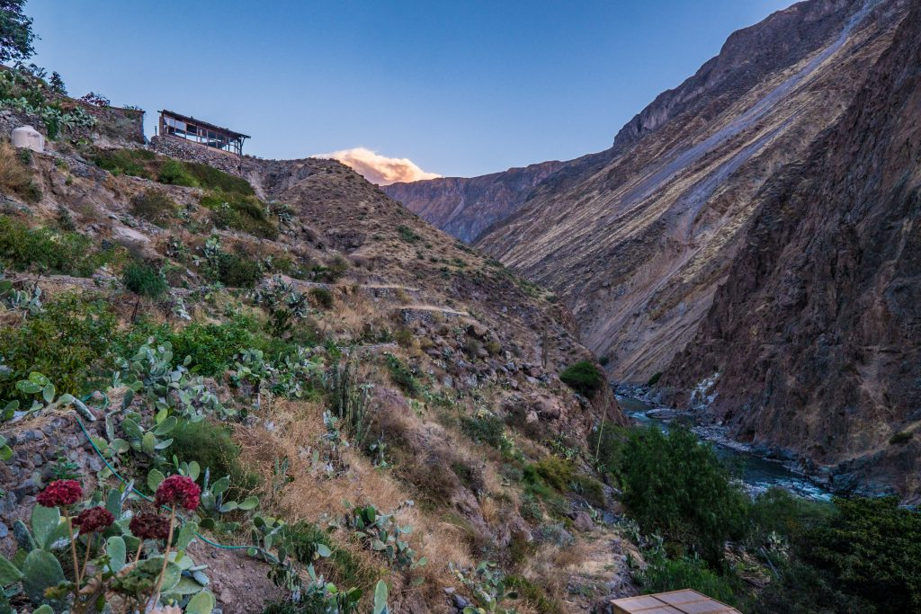 Colca Canyon trek - Sunset at Llahuar Lodge.