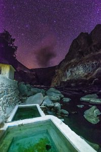 Colca Canyon trek - Llahuar Lodge at night.