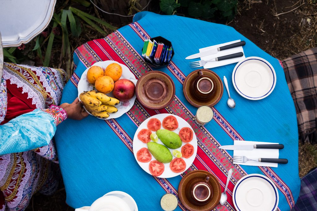 Homestay tours in Colca Canyon - Colourful garden breakfast at Bella Flor.