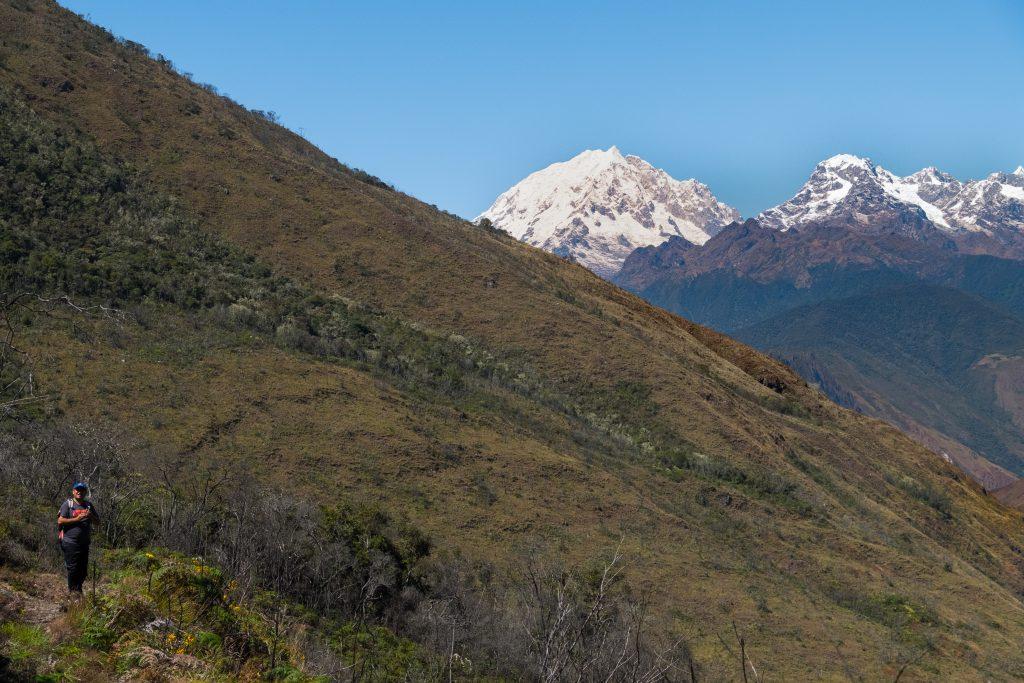 New Inca Trail to Machu Picchu, Carcel Trek - Snowy mountain views on the trail.