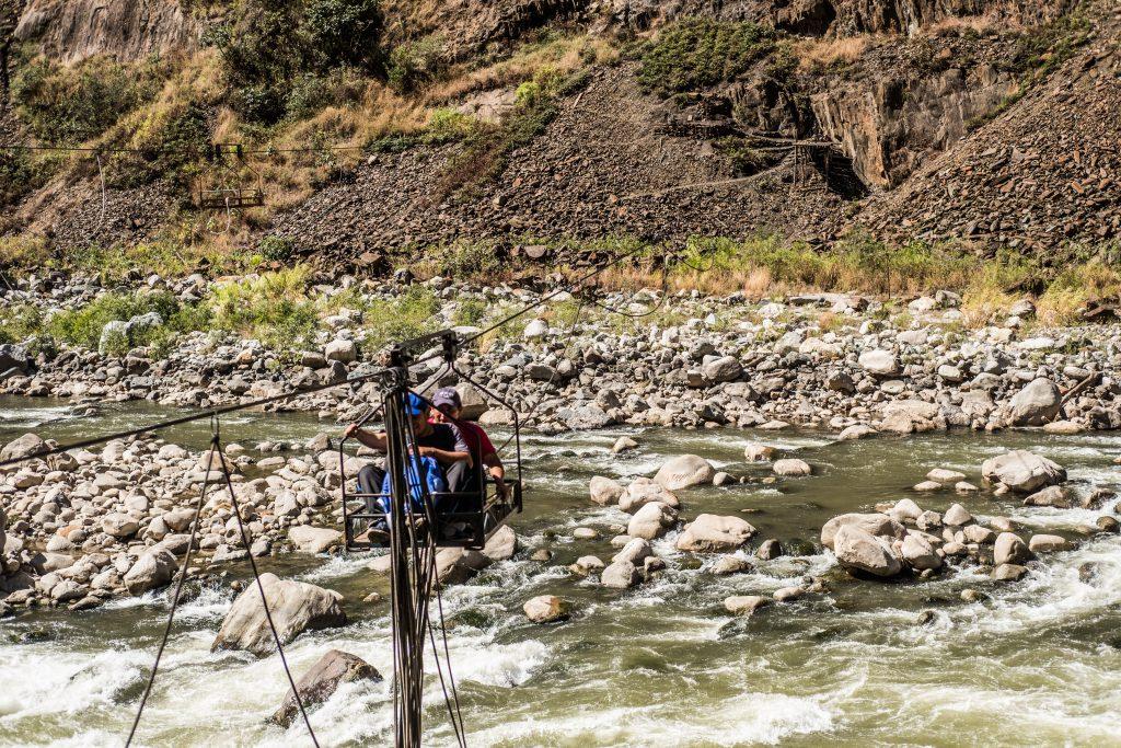 New Inca Trail to Machu Picchu, Carcel Trek - Crossing the river by zipline.