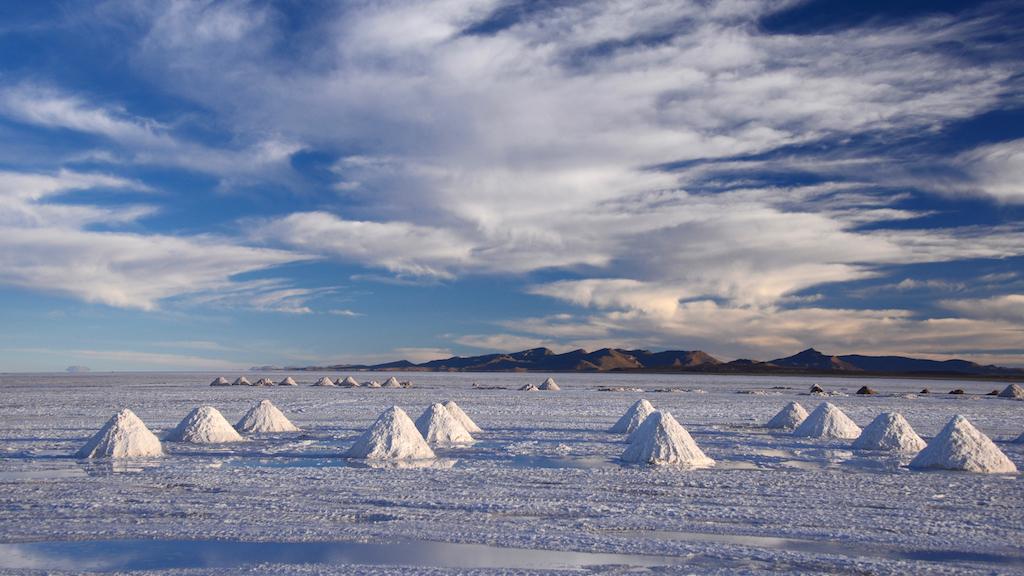 salt pile in salt production industry in bolivia