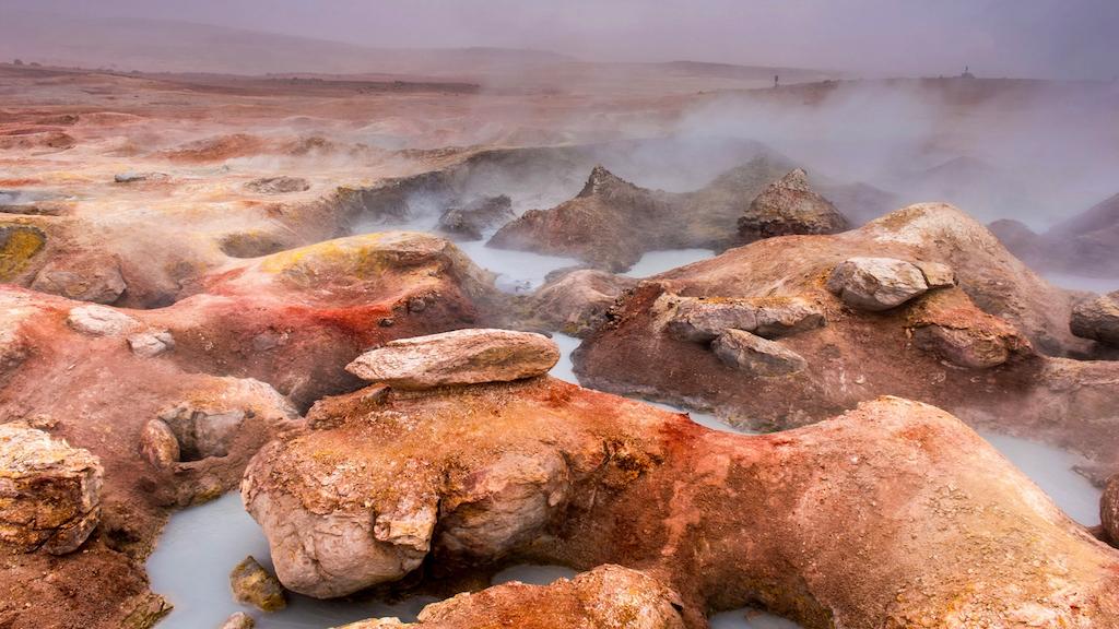 Sol de mañana geyser during your 3 day trip to Uyuni Salt flat.